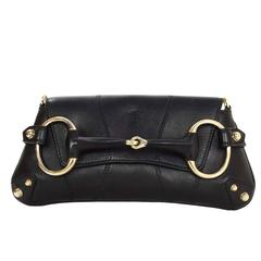 Gucci Black Leather Horsebit Clutch GHW