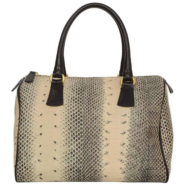 Furla Snakeskin Print Leather Speedy Bag GHW For Sale at ...