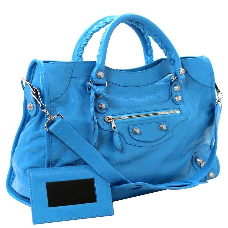Balenciaga Blue Leather Giant City 12 Bag- Nickel HW 1