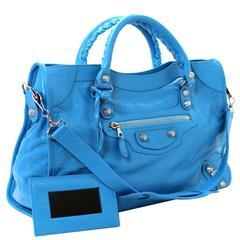 Balenciaga Blue Leather Giant City 12 Bag- Nickel HW