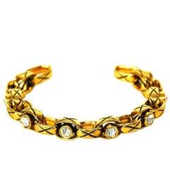 Chanel Vintage '86 Crystal & Gold Cuff Bracelet