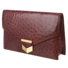 Hermes Rare Vintage Red Burgundy Gold Leather Envelope Evening Clutch Flap Bag