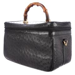 Gucci Rare Vintage Black Leather Gold Bamboo Vanity Jewelry Case Top Handle Bag