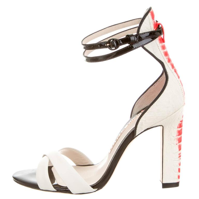 Sophia Webster NEW White Black Coral Patent High Heels Strappy Sandals in Box For Sale
