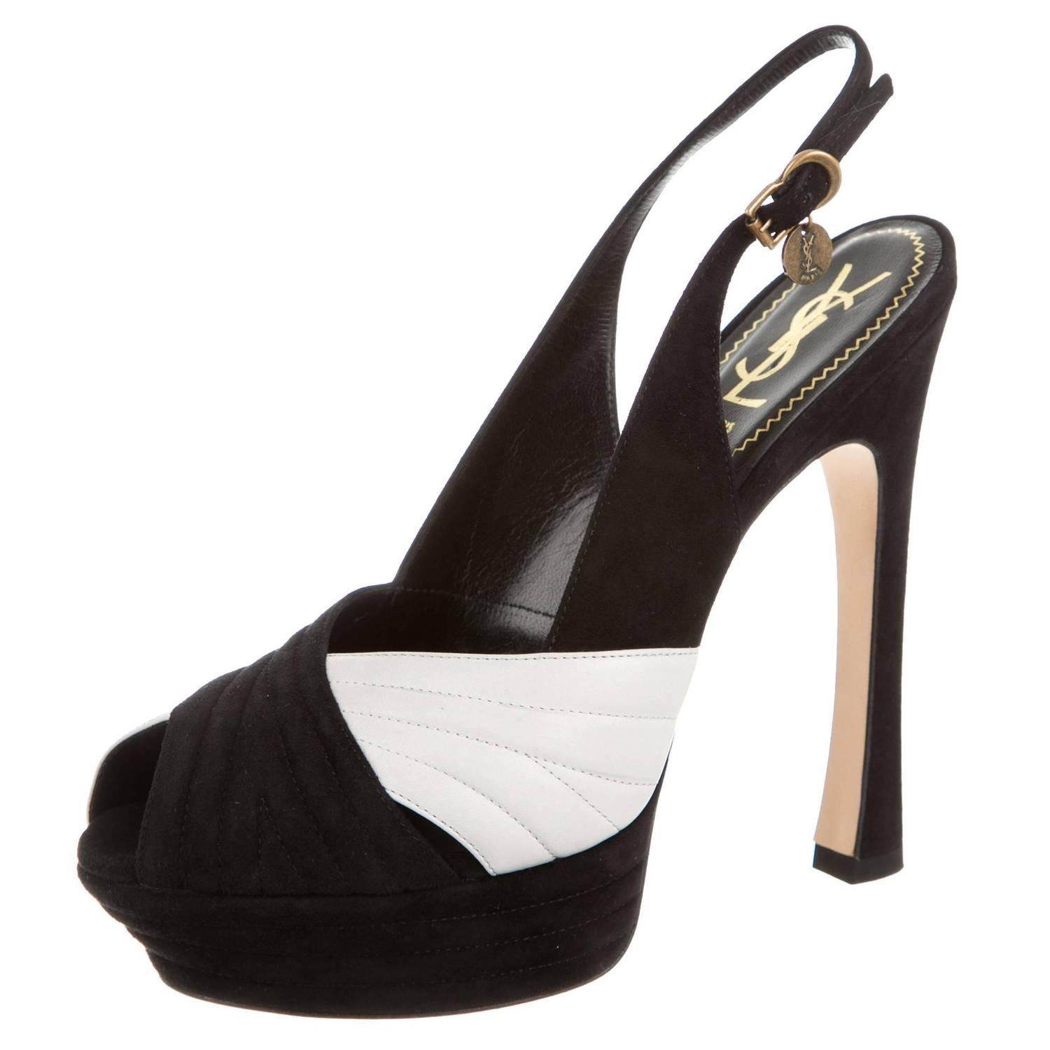 yves laurent ysl new black white suede platform