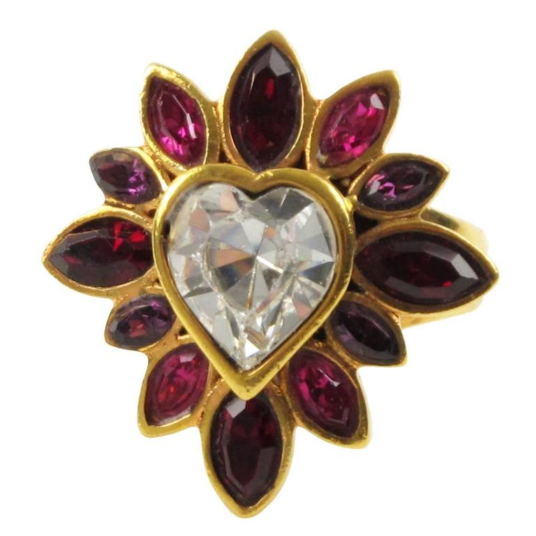 Yves Saint Laurent YSL Floral Cocktail Ring Pink Rhinestone Heart sz 6.75 1