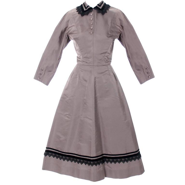 Rare Style Harvey Berin Karen Stark Vintage Dress 1950s Lace Trim 4 For Sale