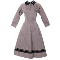 Rare Style Harvey Berin Karen Stark Vintage Dress 1950s Lace Trim 4