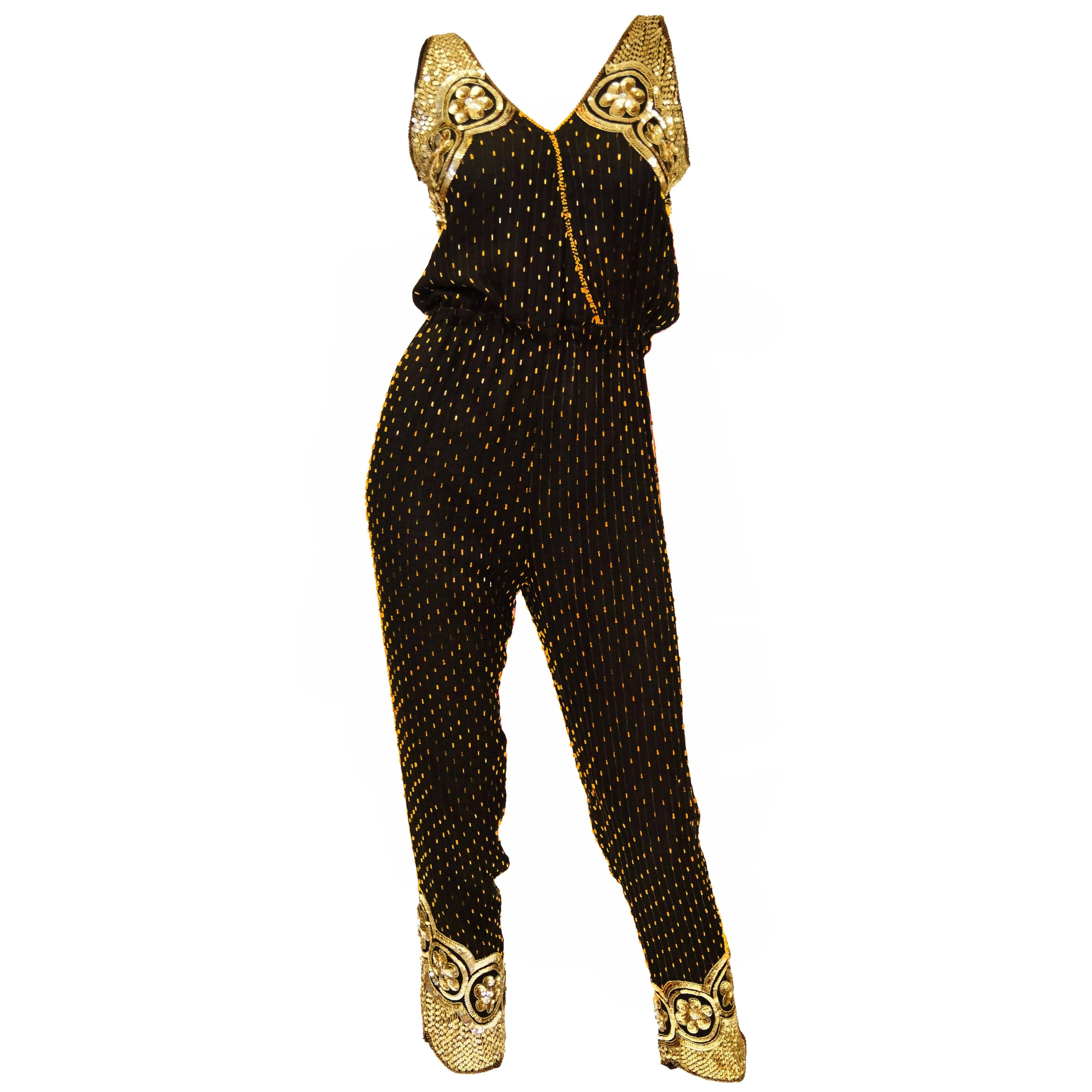 Black Silk Vintage Gold Beaded Jumpsuit