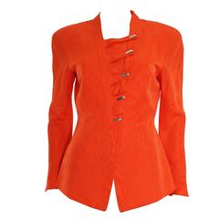 Thierry Mugler Orange Water Silk Structured Jacket, 1980s