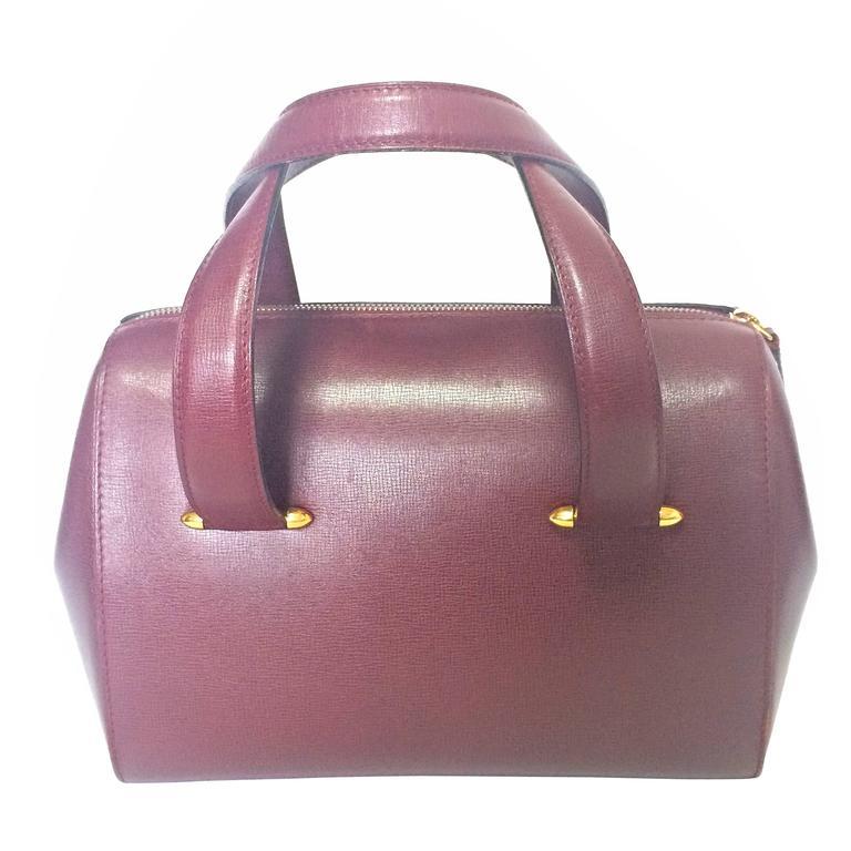 Cartier Vintage Cartier Classic Wine, Bordeaux Leather Handbag Purse. Must De Cartier