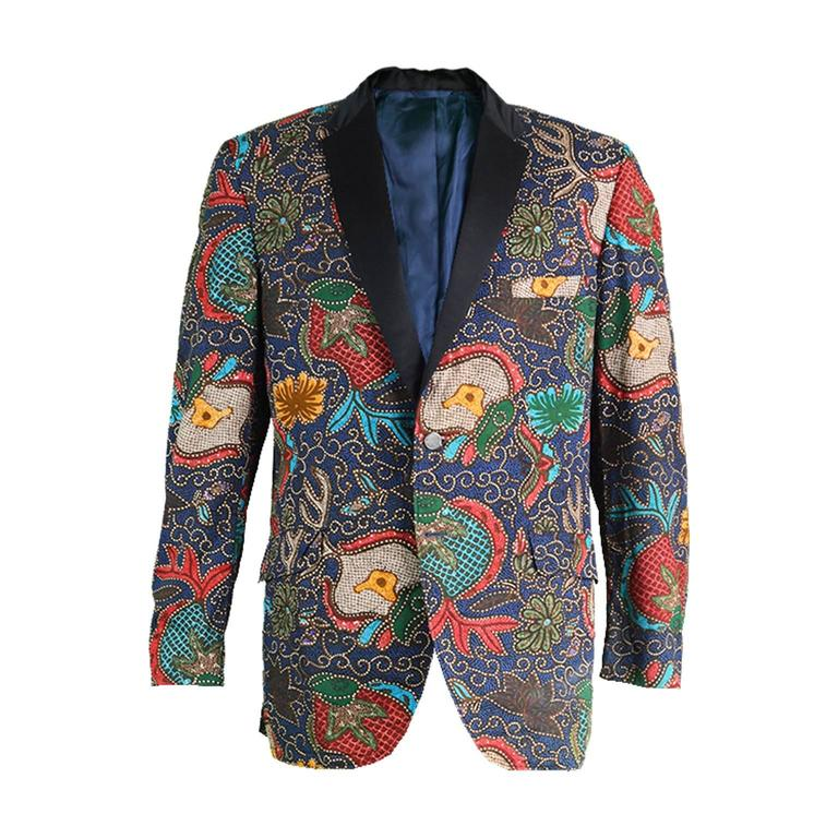 4bad7ed7d8c49 1960s Neiman Marcus Mens Vintage Wax Print Blazer Jacket at 1stdibs