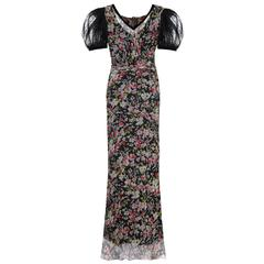 1930s Floral Chiffon Dress with Black Lace Puff Sleeves & Slip