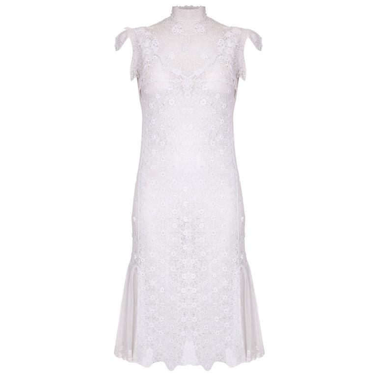 1920s handmade irish crochet lace white dress for sale at for Crochet wedding dresses for sale