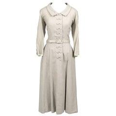 Harvey Berin Karen Stark Ecru Vintage Dress Documented in Harpers Bazaar 1950s