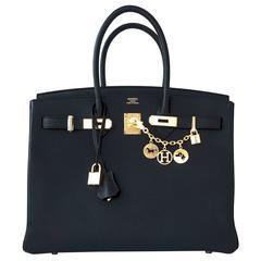 Hermes Black 35cm Birkin Gold Hardware Epsom Bag Power Birkin