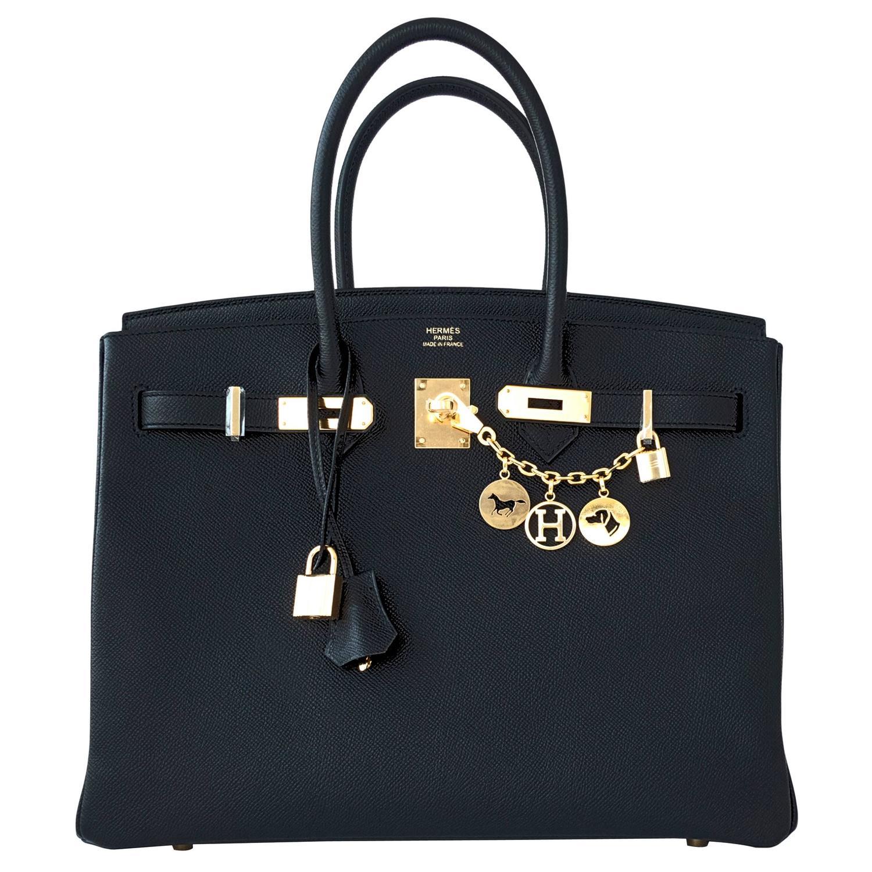 replica birkin hermes - Hermes Black 35cm Birkin Gold Hardware Epsom Bag Power Birkin For ...