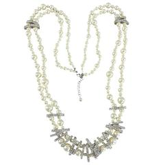 Chanel 15P Long Double Strand Pearl Necklace with Rhinestones