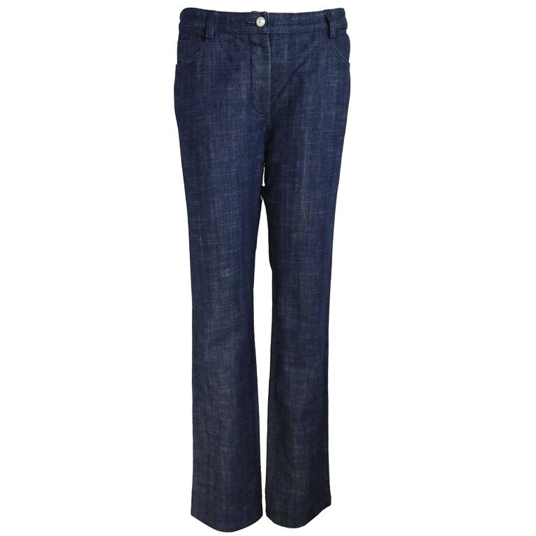 Chanel Blue Embroidered Faux Pearl Denim Jeans
