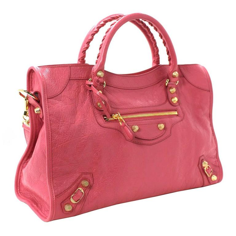 Balenciaga Lambskin Giant 12 Arena City Bag in Rose Hortensia Pink, GHW 1