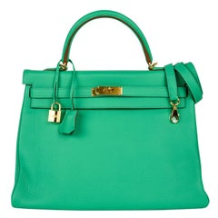 Hermes Kelly 35 Menthe Fresh Green Retourne Bag Gold Hardware
