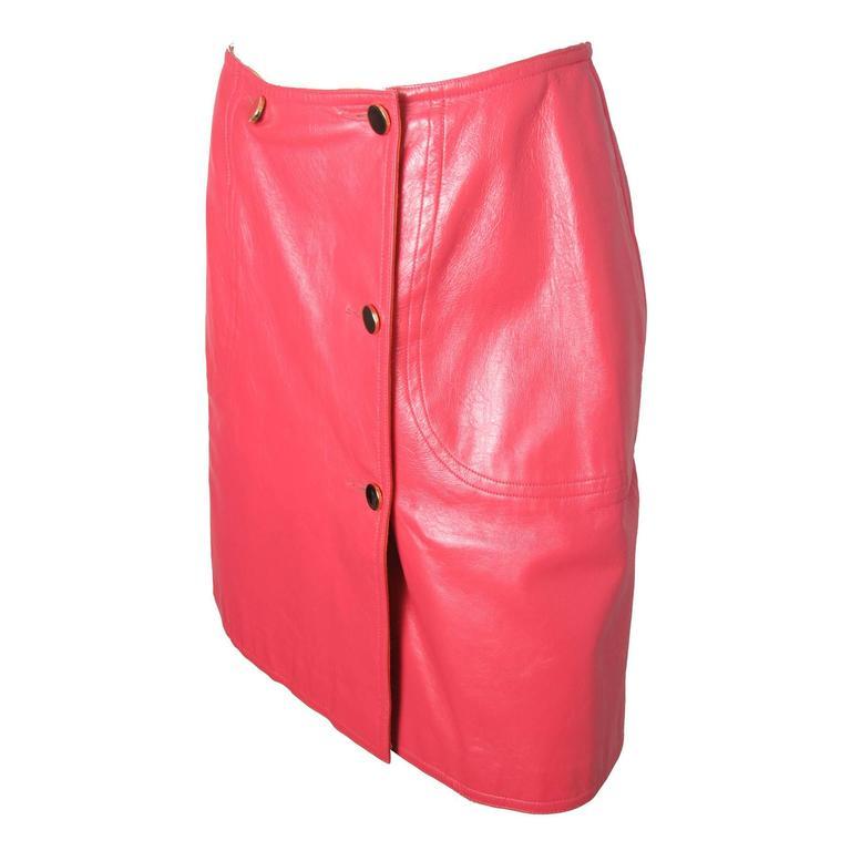 Bonnie Cashin Pink Leather Wrap Skirt