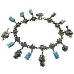 Vintage Silver Plate and Turquoise Floral Chocker with Charmes