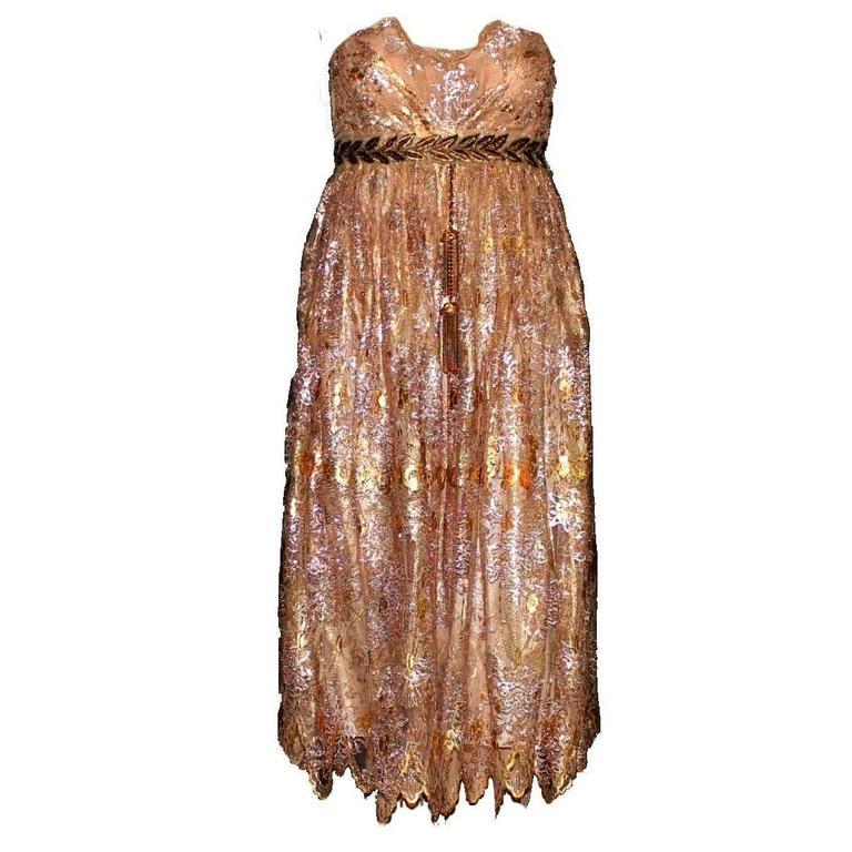 Stunning Dolce & Gabbana Golden Lace Tassel Empire Dress