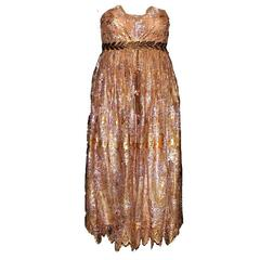 Dolce & Gabbana Golden Lace Tassel Empire Dress
