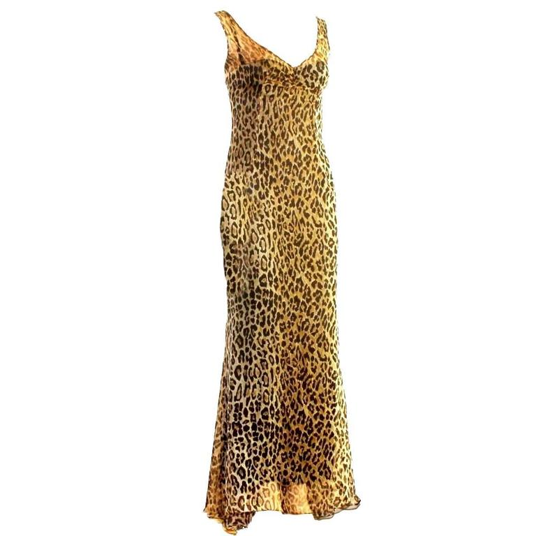 Stunning Dolce & Gabbana Corset Leopard Cheetah Print Silk Gown 1