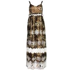 Stunning Dolce & Gabbana Leopard Cheetah Print Maxi Dress Gown
