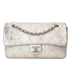 Rare Chanel Aged Silver Classic Flap Bag