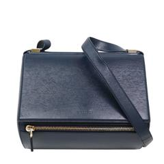 Givenchy LIKE NEW Navy Blue Leather Silver Hardware Box Flap Shoulder Bag