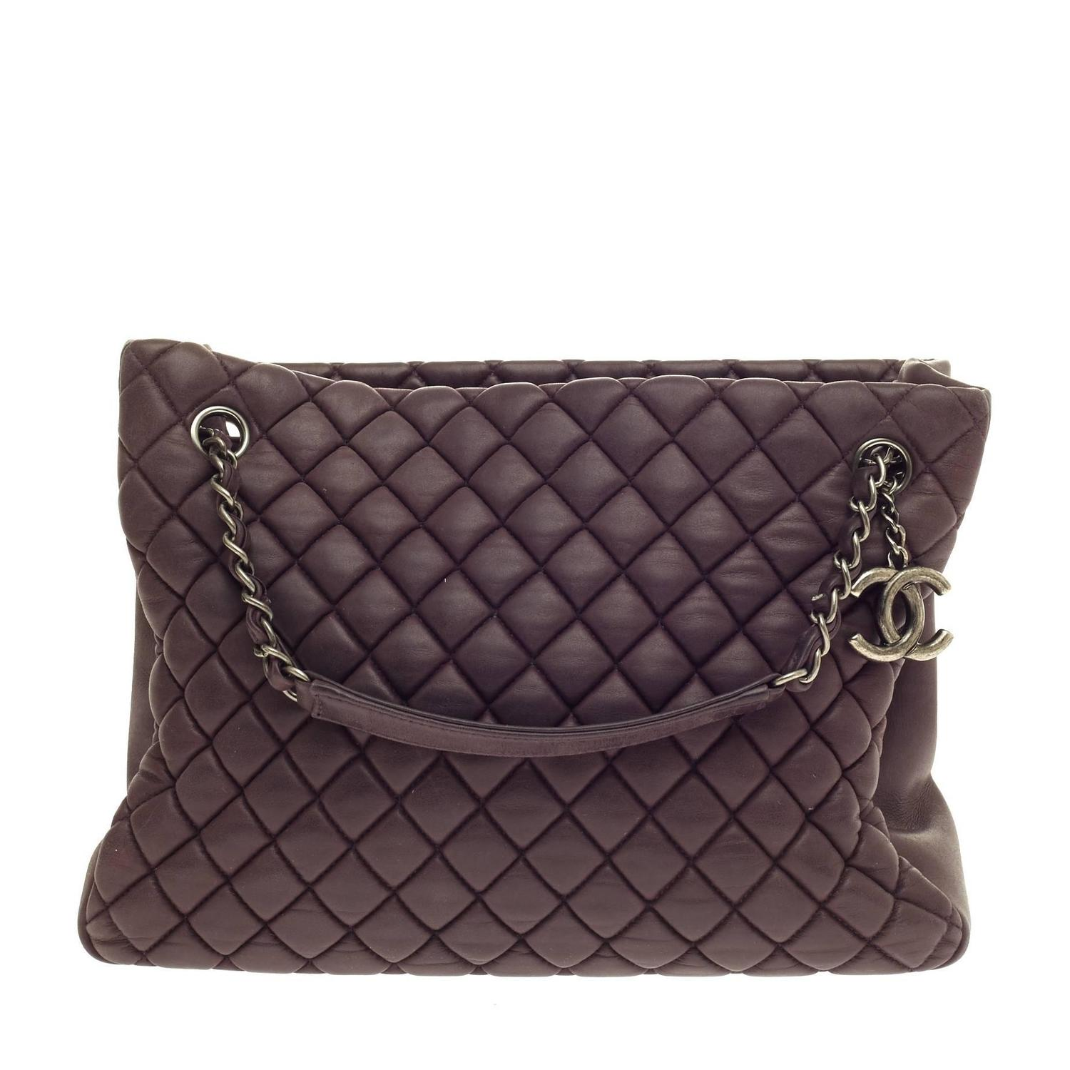 Chanel New Bubble Tote Quilted Iridescent Calfskin Small