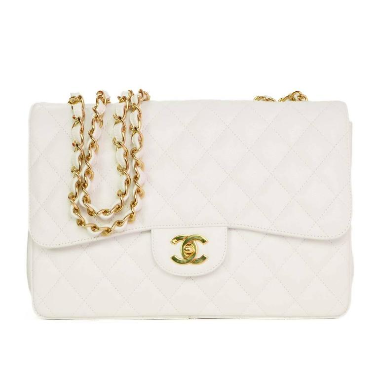 8e88cceb7de4 Chanel White Caviar Leather Jumbo Classic Single Flap Bag GHW For Sale