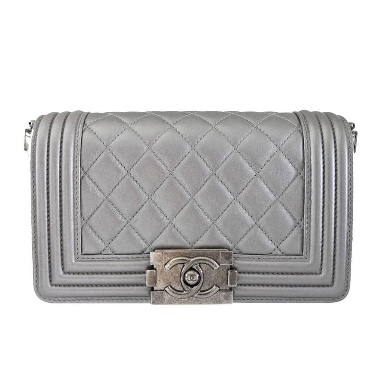 Chanel Silver Boy Bag Quilted Leather Stingray Strap SHW Flap Bag For Sale