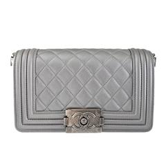 Chanel Silver Boy Bag Quilted Leather Stingray Strap SHW Flap Bag