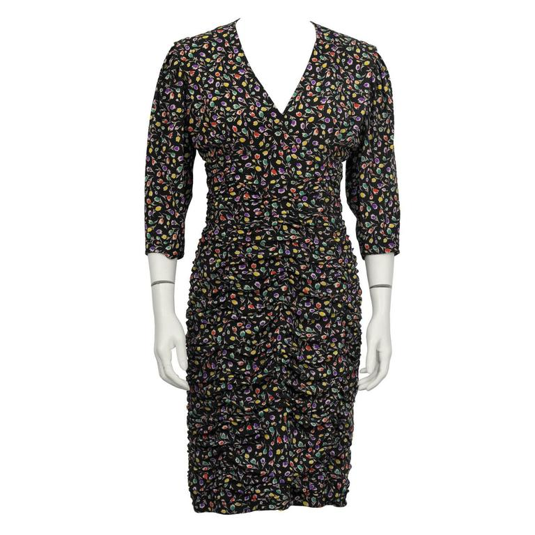 1980's Ungaro Black Floral Ruched Dress