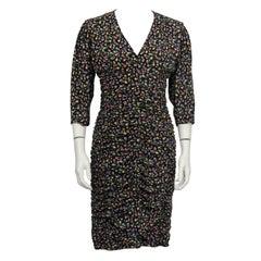 1980's Ungaro Black Floral Ruched Dress