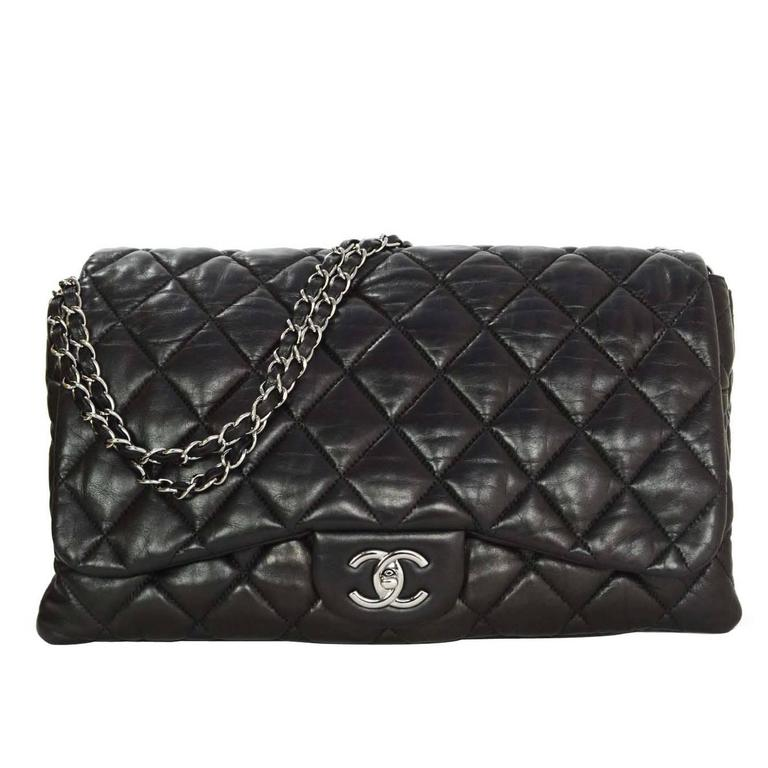 e64c5cdf7c3b Chanel Black Lambskin Jumbo 3 Accordion Flap Bag RHW For Sale at 1stdibs