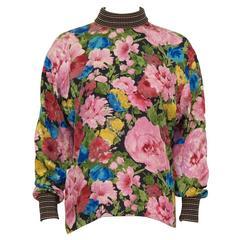 1980's Ungaro Silk Floral Printed  Blouse