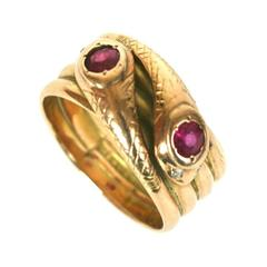 Wonderful Victorian Double Snake Ring