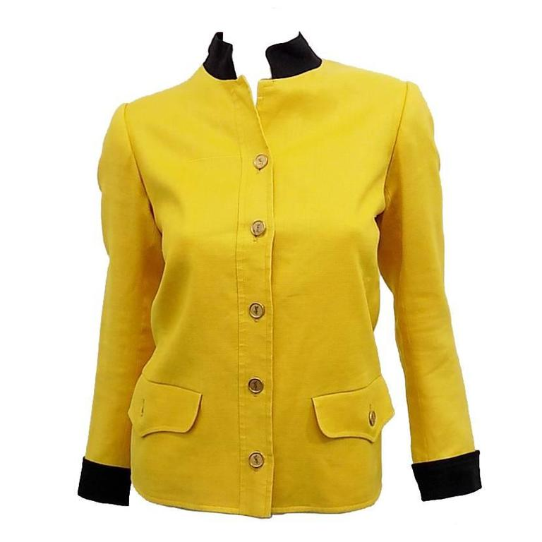 Yves Saint Laurent Yellow Vintage  Jacket with YSL Buttons sz 4 For Sale