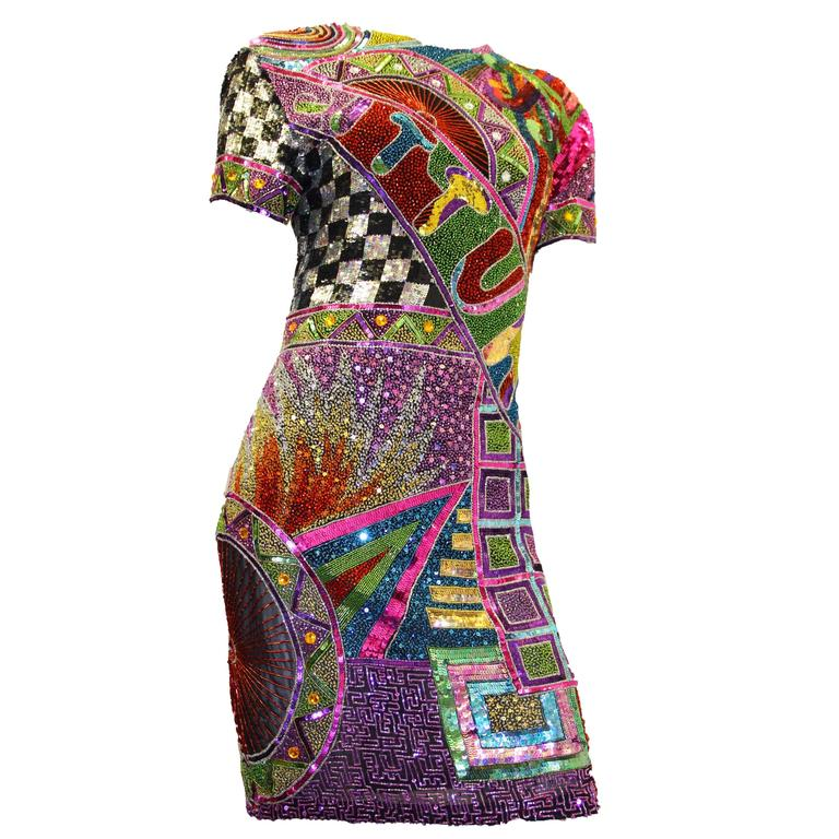 80s Multi Color Beaded and Sequined Naeem Khan Dress
