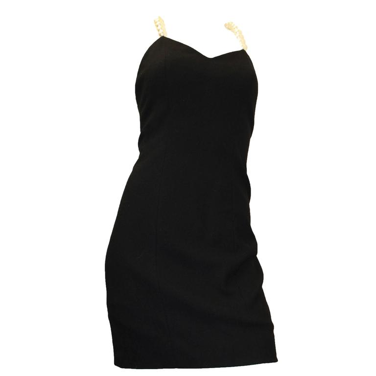 1990s Searavelli Mini Dress with Pearl Strand Straps  For Sale