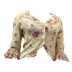 50s Castillo Organdy Rose Embroidered Blouse with Ruffle Collar and Cuffs