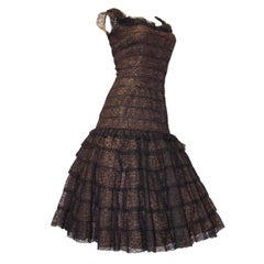 50s Drop Waist Lace Tiered Skirt Dress