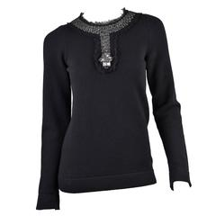 Chanel 1994 Black Cashmere Sweater with Large Elaborate Rhinestones in Mesh FR40