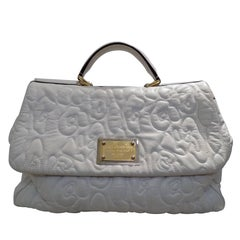 Dolce & Gabbana Miss Sicily white leather bag