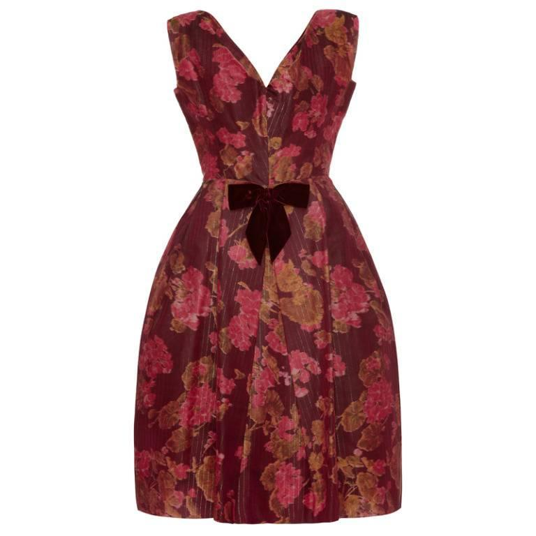 1960's Oscar de la Renta for Elizabeth Arden Silk Floral Dress For Sale
